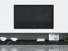 电视机柜背景墙组合 3d模型
