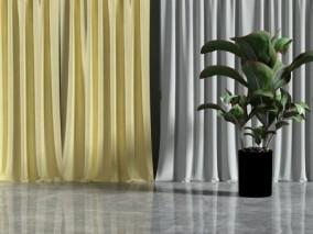 现代时尚 家庭窗帘 3d模型