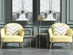 休闲室椅子组合3D模型