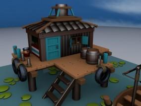 卡通小鱼屋3D模型