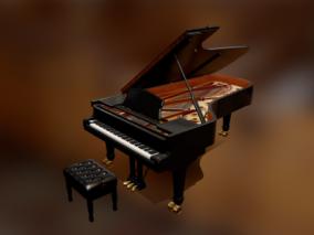 PBR 高品质 钢琴 乐器 钢琴凳子 写实 西方乐器 音乐 便宜 3d模型