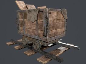 木制矿车 3d模型