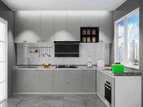 现代L型厨房 3d模型
