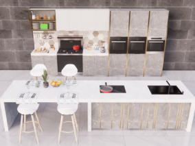 轻奢风格开放式集成灶厨房 3d模型
