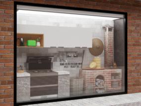 集成灶街边橱窗 3d模型