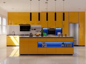 现代风格烤漆板厨房 3d模型