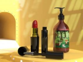 口红 指甲油 爽肤水化妆品组合3D模型