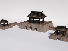 中式 仿古 边关 要塞古建3D模型