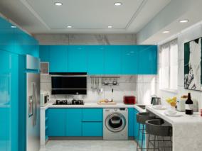 蓝色现代风格厨房 3d模型