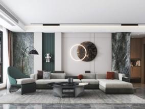 现代时尚简约客厅 3d模型