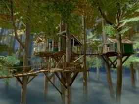 树上小屋森林树屋 CG模型
