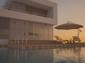 海景别墅家庭泳池c4d模型