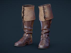 PBR 高品质皮鞋写实长靴CG模型