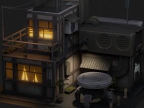 PBR-赛博朋克日本建筑 餐馆 餐厅