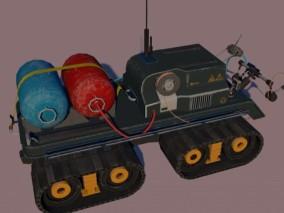 火星探测器 履带车 星空作业车 交通工具 太空采矿车 罐车 3d模型