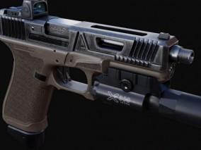 科幻手枪 3d模型