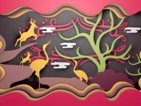 羚羊 丹顶鹤 天鹅 云树 橱窗森林主题 商场春季美陈 3d模型