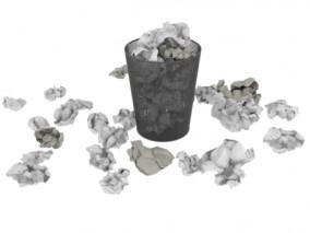 纸团 废纸篓 3d模型