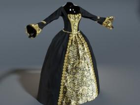 PBR 高品质 女士黑色礼服 优雅 裙子 写实 3d模型