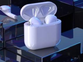 无线airpods 苹果耳机 充电舱 白色蓝牙耳机场景CR渲染C4D模型 3d模型