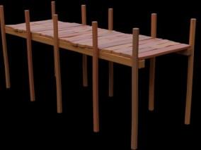 木板栈道 木质桥 木板路 小桥 3d模型