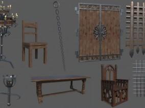 木金属装饰板资产包 木头椅子 中世纪火炬 锁链 水城闸门 3d模型