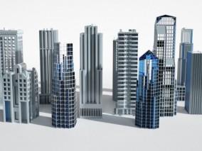 高楼 写字楼 街区 城市码头 机场 停车场 楼群 鸟瞰建筑群未来城市 科幻城市 简模城市 未来建筑