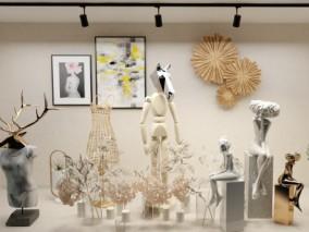 麋鹿 马 模特 女模 木偶 裙子 现代服装店橱窗 玻璃橱窗 3d模型