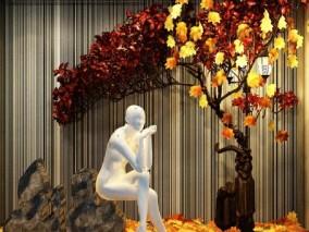 落叶 枫树 枫叶 商场橱窗,服装店橱窗,服装橱窗,现代橱窗,模特,服装模特