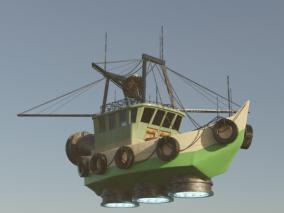 幻想科幻渔船 飞行小船 3d模型