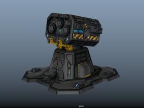科幻基地防御重炮 塔防 加农炮 防空炮 炮台机炮 堡垒防御电磁炮 3d模型