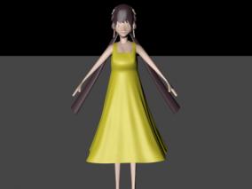 黄衣服女孩 人物 3d模型