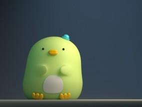 可爱小企鹅摆件3d模型