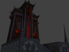 古建 古堡 大门 中式建筑 玄幻大门cg模型
