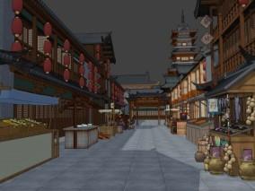 中式建筑 古建 阁楼 中式商店 古代街道 小摊 风筝 葫芦 杂货铺 摊位 商业街