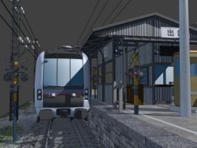 日式建筑 日式火车站 小车站 新干线 站台 电线杆