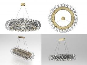 轻奢金属水晶吊灯3d模型