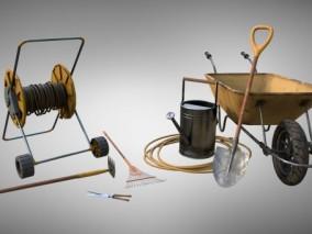 园林工具 手推车 铁锹 剪刀 耙子 铁耙 花洒 浇花水桶 水管  施工线盘  3d模型
