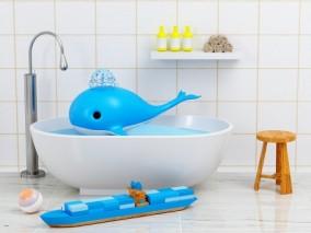 卡通蓝鲸 鲸鱼 海底 大鱼 鲲 浴池 玩具船舰 积木船 卫生间 洗浴室 3d模型