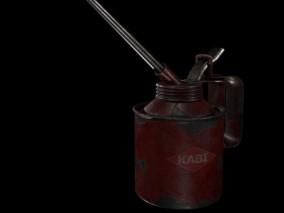 喷油枪 汽油罐 滑油壶 加油瓶 压机油枪 长嘴手动高压油壶 压力 3d模型