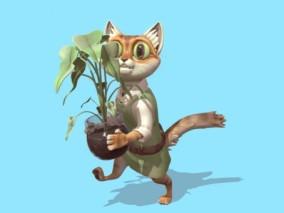 多种文件格式  卡通猫 植物 花盆 动物