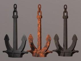 锚泊设备 停船器具 铁锚 老式老旧船锚 大铁锚 3d模型