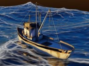 铁皮船 抽沙船 捕鱼船 工业船 运输船 铁船 渔船 小船 拖网渔船 3d模型