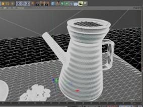 陶瓷咖啡壶 C4D 咖啡杯 咖啡豆3d模型