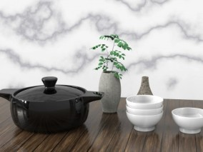 黑砂锅 白瓷碗 厨具 炊具 平底锅 蒸锅不粘锅煎锅煎饼锅炖锅 简洁高端 3d模型