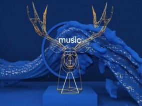 蓝色鹿头造型电商 麋鹿 月光 蓝色雕塑 商场美陈 夜晚美 3d模型