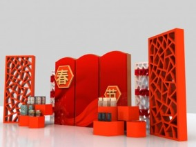 新年 春节 元旦 新春 除夕 过年 中式 国潮 中国风 中国结 福字 3d模型
