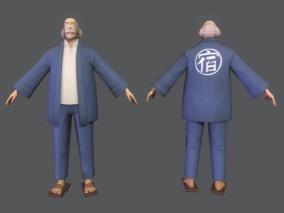 次世代 日式卡通 动漫 二次元风格 老爷爷 住宿老板 老人 外公 祖父 3d模型