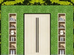 现代绿植墙 书柜 装饰柜3d模型