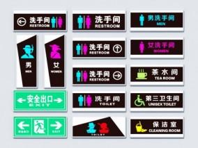 现代卫生间 安全出口 茶水间 标识标志3d模型